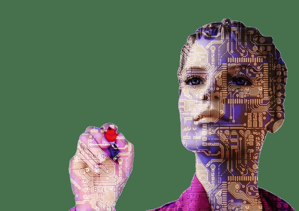robot women with highlighter